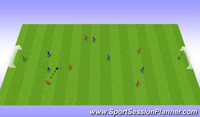Football/Soccer Session Plan Drill (Colour): Spila 5 á 5 + markmenn.