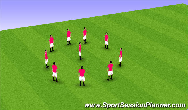 Football/Soccer Session Plan Drill (Colour): Static stretching circle