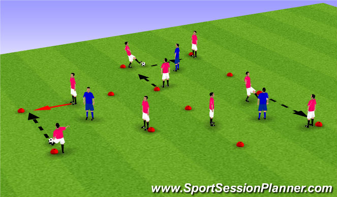 Football/Soccer Session Plan Drill (Colour): Possession squares