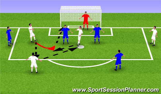 Football/Soccer Session Plan Drill (Colour): 2v2 with bumpers