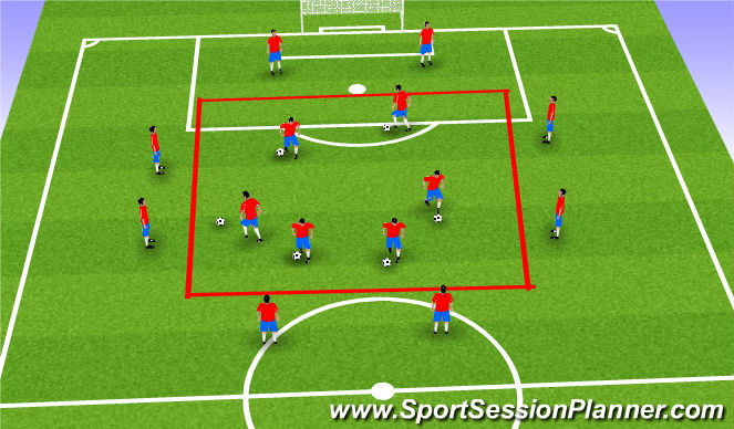 Football/Soccer Session Plan Drill (Colour): Frame and warm-up