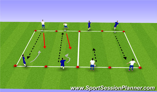 Football/Soccer Session Plan Drill (Colour): 1v1 Line Soccer for Individual Defenders