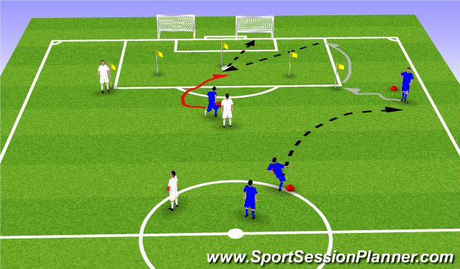 Football/Soccer Session Plan Drill (Colour): Receiving out of air + move + cross