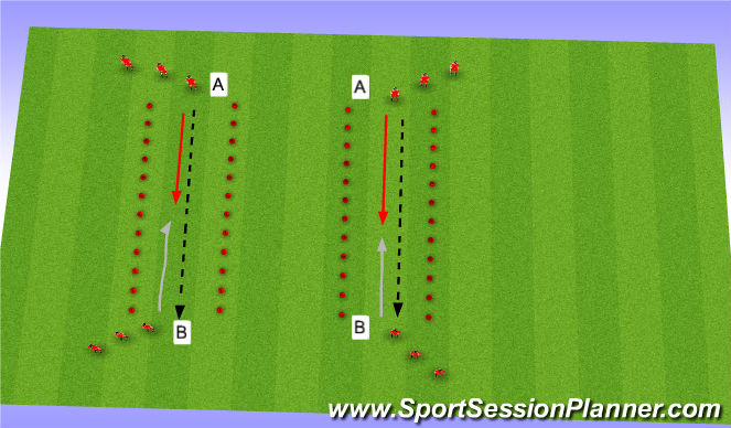 Football/Soccer Session Plan Drill (Colour): 1v1 Defensive Tunnel