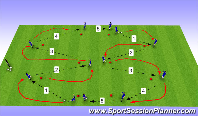 Football/Soccer Session Plan Drill (Colour): Full Team Warm Up Pattern