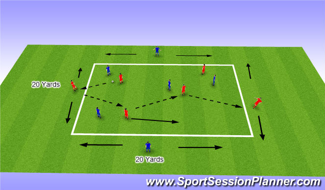 Football/Soccer Session Plan Drill (Colour): Developing Possession