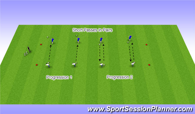 Football/Soccer Session Plan Drill (Colour): Warm Up:  Short Passing in Pairs