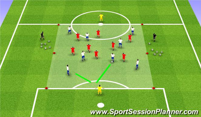 Football/Soccer Session Plan Drill (Colour): Positiespel   8:8 + 2 kaatsers