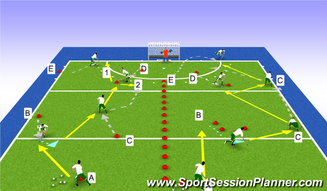 Hockey Session Plan Drill (Colour): Movement and passing