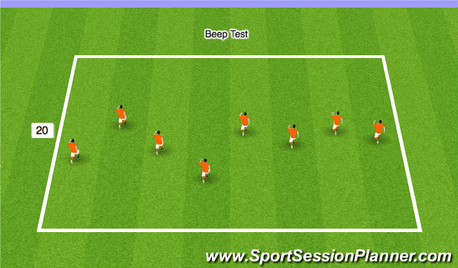 Football/Soccer Session Plan Drill (Colour): Stage 2 - Bleep Test