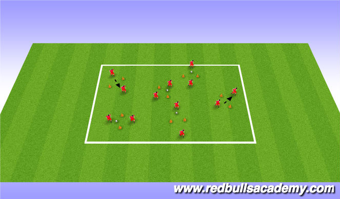 Football/Soccer Session Plan Drill (Colour): Passing through gates - Unopposed 10/15 mins
