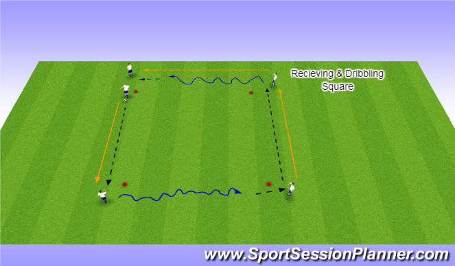 Football/Soccer Session Plan Drill (Colour): Receiving & Dribbling Square