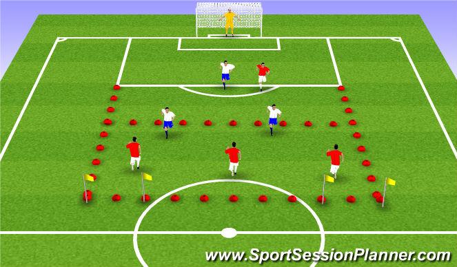 Football/Soccer Session Plan Drill (Colour): Application Game 3v2-2v1