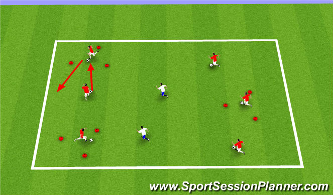Football/Soccer Session Plan Drill (Colour): Triangle Tag - Dribbling