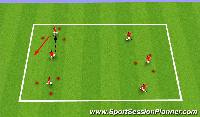 Football/Soccer Session Plan Drill (Colour): Triangle Tag - Passing
