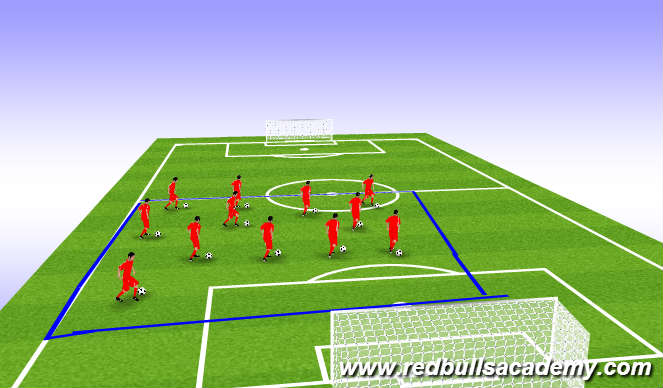 Football/Soccer Session Plan Drill (Colour): Warm-up (Red Bulls Travel)
