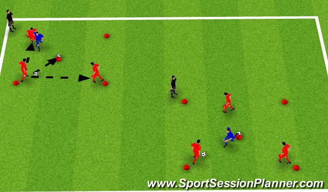 Football/Soccer Session Plan Drill (Colour): 3v1 Knock the Ball of the Cone