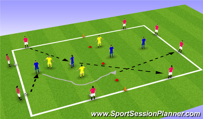 Football/Soccer Session Plan Drill (Colour): Receiving and turning opposed