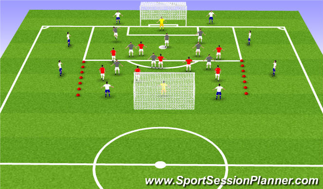 Football/Soccer Session Plan Drill (Colour): 8v8 finishing