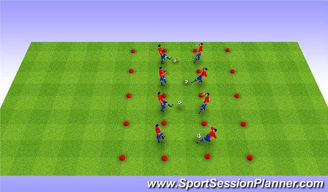 Football/Soccer Session Plan Drill (Colour): 1V1V1