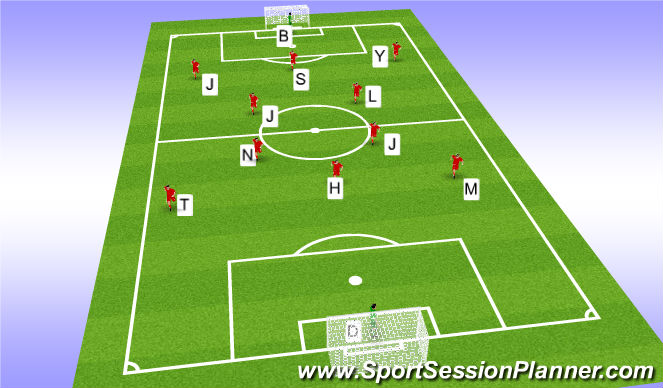 Football/Soccer Session Plan Drill (Colour): playing into mid