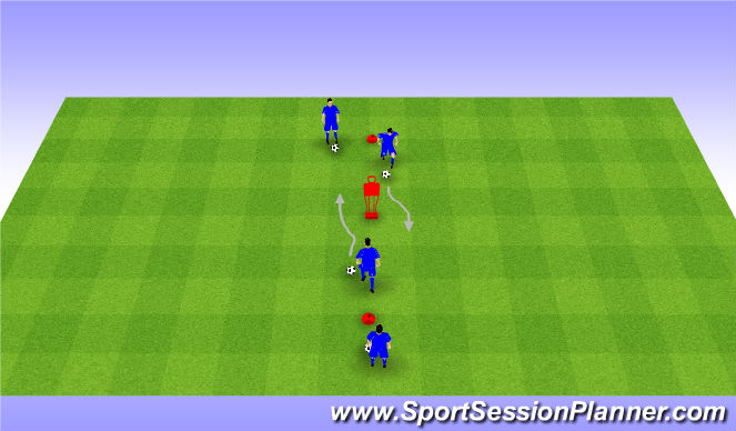 Football/Soccer Session Plan Drill (Colour): Step Over