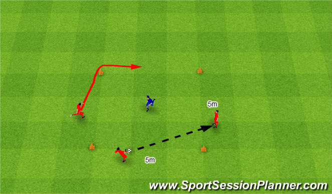 Football/Soccer Session Plan Drill (Colour): Rondo 3v1. Dziadek 3v1.