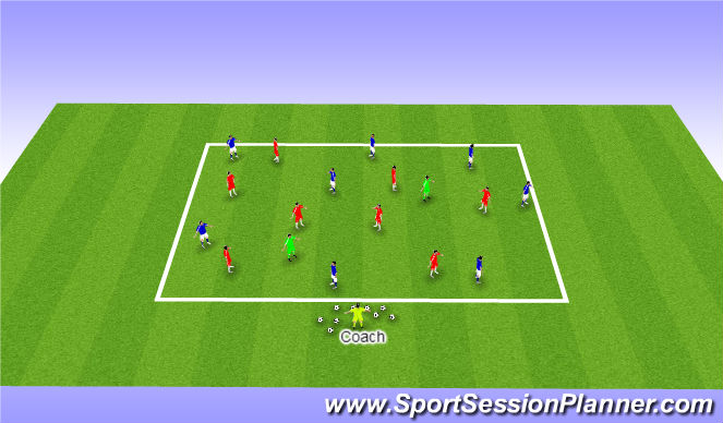 Football/Soccer Session Plan Drill (Colour): 8v8 + 2 Possession