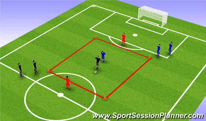 Football/Soccer Session Plan Drill (Colour): Stage 1: Playing out of Pressure