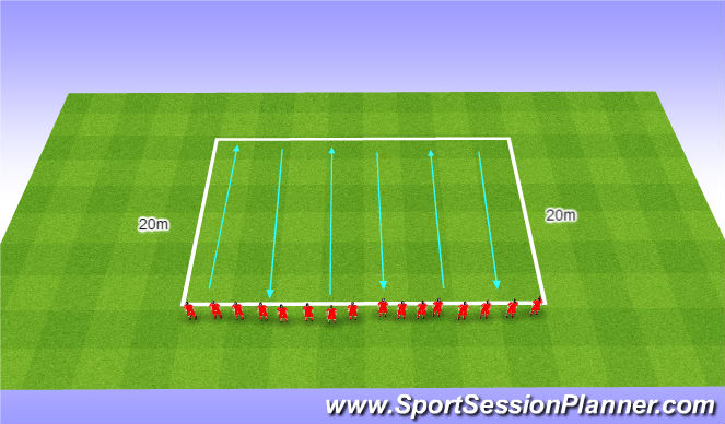 Football/Soccer Session Plan Drill (Colour): Beep Test