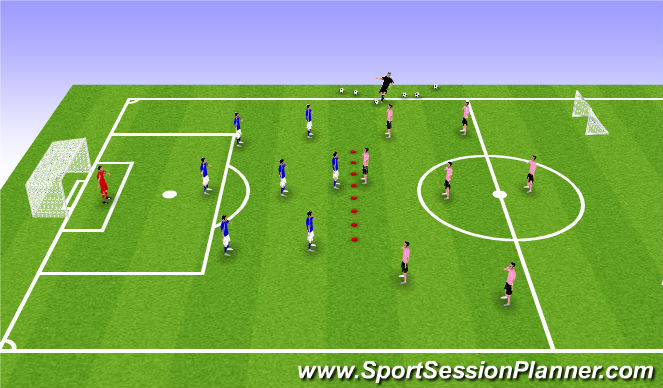 Football/Soccer Session Plan Drill (Colour): 3-1-3 vs 3-1-3 (or 2-4-1)