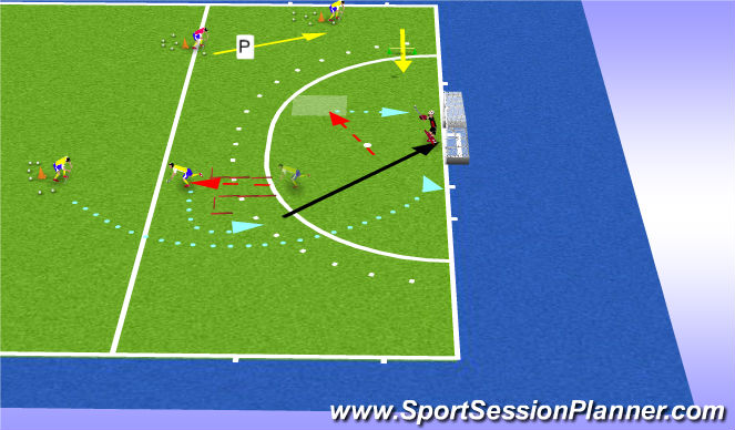 Hockey Session Plan Drill (Colour): space 1+ tec 1