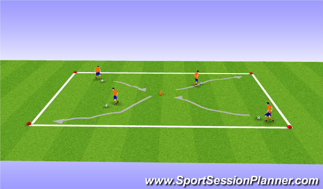 Football/Soccer Session Plan Drill (Colour): Coerver Ball Work Warm Up