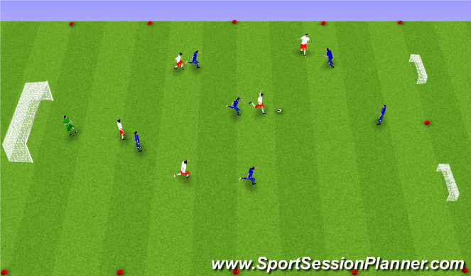 Football/Soccer Session Plan Drill (Colour): Spila 6 á 6.