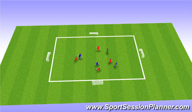 Football/Soccer Session Plan Drill (Colour): 4v4/ 3v3v3
