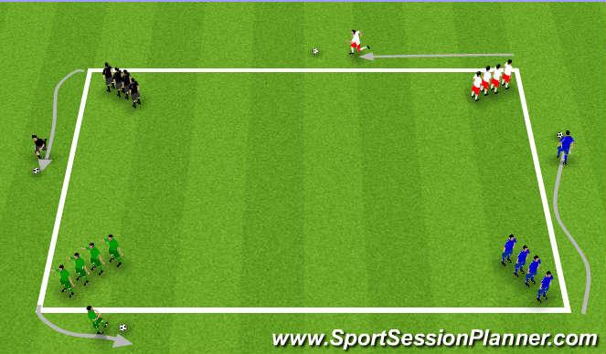 Football/Soccer Session Plan Drill (Colour): Knattraksboðhlaup.