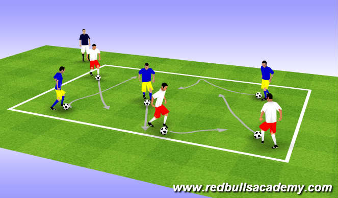 Football/Soccer Session Plan Drill (Colour): Warm up - free style dribble