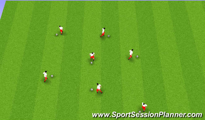 Football/Soccer Session Plan Drill (Colour): Open Dribbling
