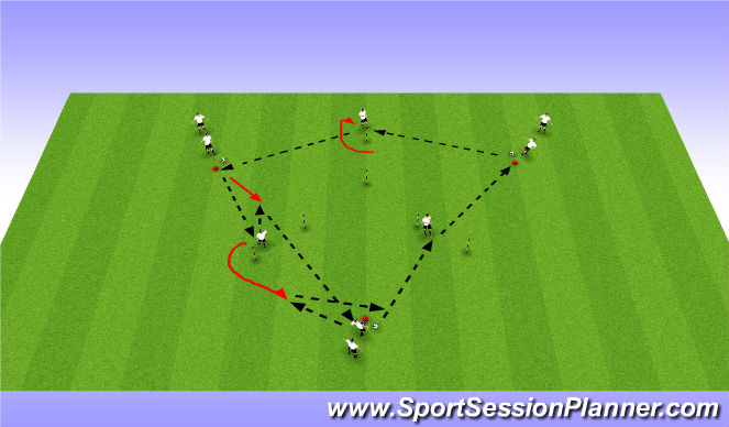 Football/Soccer Session Plan Drill (Colour): Triangles with Gates