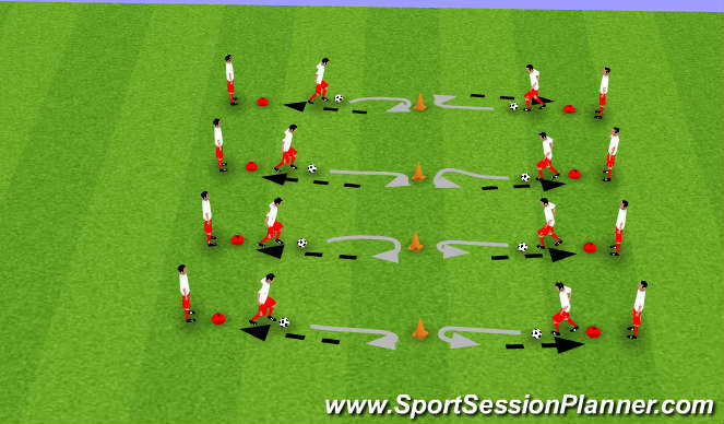 Football/Soccer Session Plan Drill (Colour): Dribble at Cone