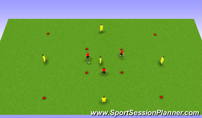 Football/Soccer Session Plan Drill (Colour): Possession: 3v1 into 5v3