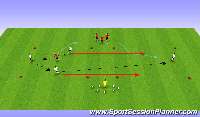 Football/Soccer Session Plan Drill (Colour): 3v1 (Plus 1)