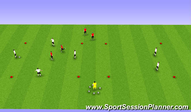 Football/Soccer Session Plan Drill (Colour): 4v2 (Plus 2)