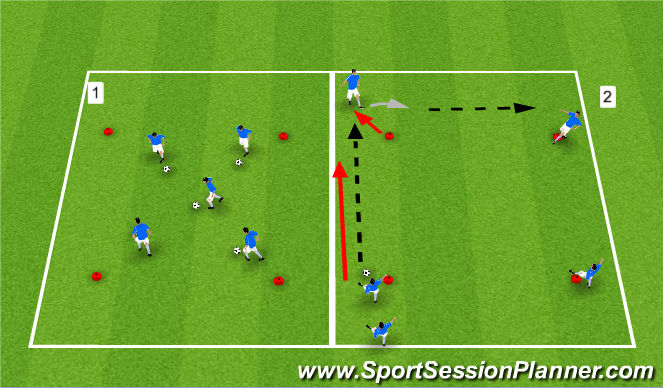 Football/Soccer Session Plan Drill (Colour): Technical Warm-Up.