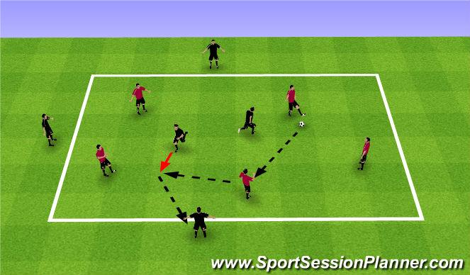 Football/Soccer Session Plan Drill (Colour): 5 v 2 +3