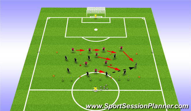 Football/Soccer Session Plan Drill (Colour): 8 v 9