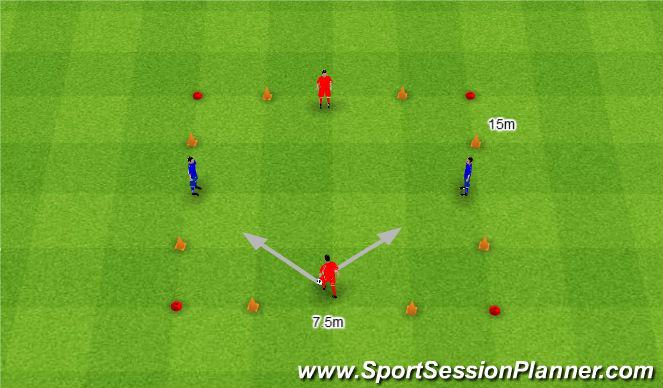 Football/Soccer Session Plan Drill (Colour): 2. 2v2 z czterema przecinającymi się bramkami.