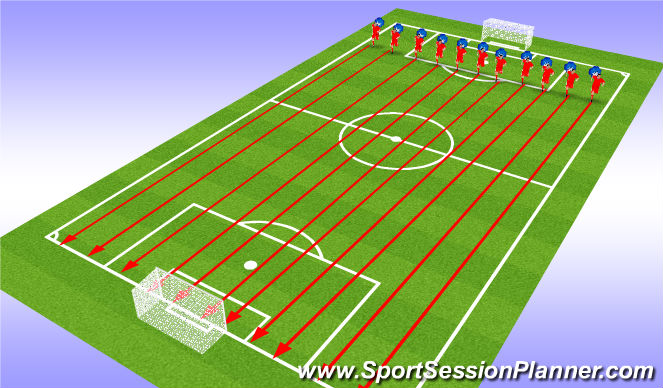 Football/Soccer Session Plan Drill (Colour): Fitness 100s