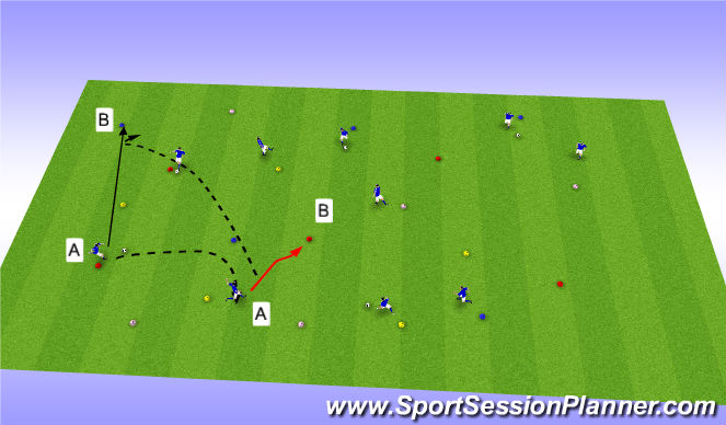 Football/Soccer Session Plan Drill (Colour): Cone Pass & Move
