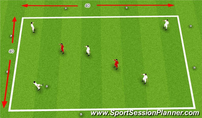 Football/Soccer Session Plan Drill (Colour): Short and Long Passing (Provincial B session) Progression
